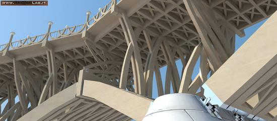 Particolari costruttivi della sottostruttura. Render ing fabio Cinesu