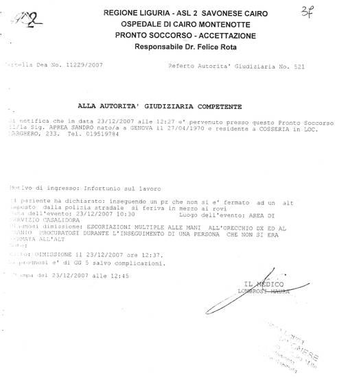 Certificato medico dell'agente che picchio MANUEL ELIANTONIO