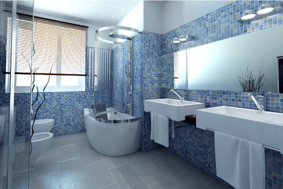 Bagno mosaico blu - Bagno blu e bianco ...