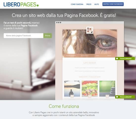 Libero Pages trasforma la fan page in un vero sito