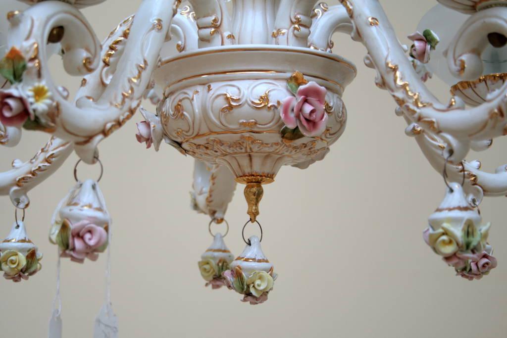 lampadario capodimonte : Lampadario a sospensione Capodimonte a 5 luci con decorazioni in oro